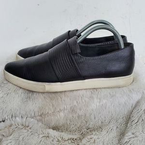 Vince Black Leather Pointy Slip On Sneakers 8.5